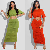 2021 Summer Streetwear Fashion Solid Color Short Sleeve Ruched Hollow Cut Out Bodycon Long Maxi Dress FSX-288