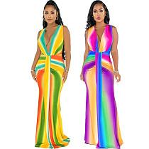 Summer Fashion Gradient Color Women Tie Dye Print Deep V Neck Sleeveless Ruched Waist Maxi Dress SMR-10420