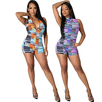Sexy Print Sleeveless Front Zipper Back Cut Out Drawstring Women Party Bodycon One Piece Rompers SMR-10533