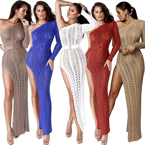 Women Sexy One Shoulder Long Sleeve Hollow Out Knitted High Slit Bodycon Maxi Club Party Beach Dress ZS-013