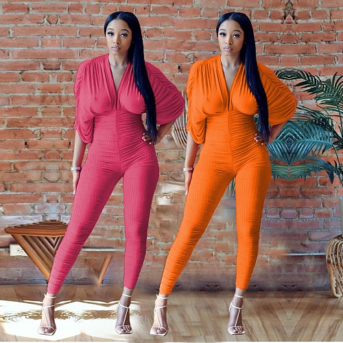 Sexy Women's Clothing Deep V Neck Solid Color Pleated Ruched Bodycon One Piece Jumpsuits ATE-65007