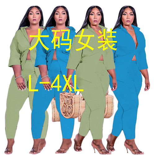 Plus Size 2021 Women Clothing Solid Long Sleeve Shirt Pencil Pants Autumn Office Lady Two Piece Set XT-88101