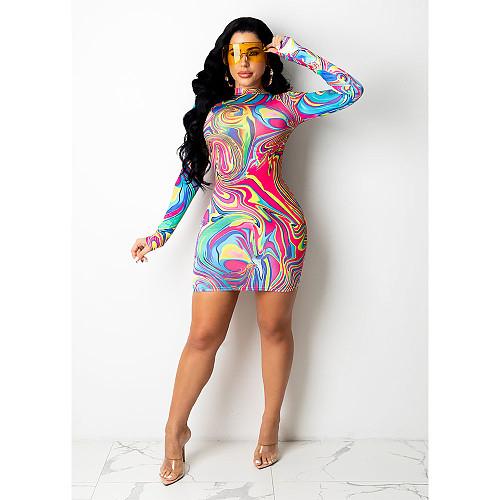 Fashion Printed Women Sexy Long Sleeve Round Neck Pack Hip Nightclub Party Bodycon Mini Dress DY-6674