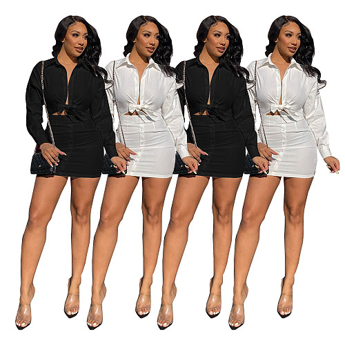2021 Summer Women Fashion Solid Long Sleeve High Waist Hollow Out Turn Down Collar Shirt Mini Dress NUOL-6086