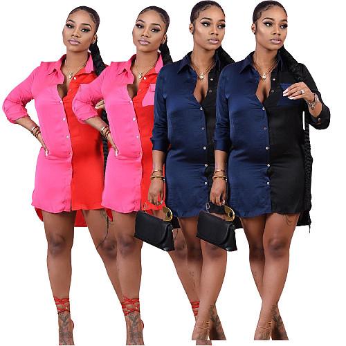 Autumn Patchwork Long Sleeve Turn Down Collar Button Irregular Shirt Casual Women Mini Dress NUOL-6089