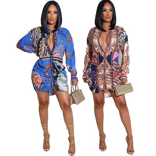 Plus Size Women Clothing Fashion Vintage Pattern Print Long Sleeve Single-Breasted Streetwear Shirts QIY-5081