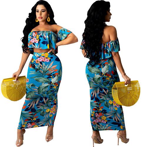 Women Floral Print Boho Off Shoulder Short Sleeve Crop Tops Maxi Skirt Summer Beach Two Piece Set SMR-10598
