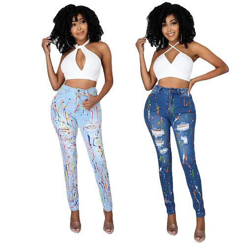 Hot Sales Women Streetwear Splash-ink High Waist Washed Ripped Skinny Denim Pencil Pants OSM-5318