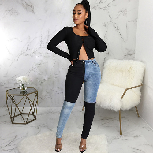 2021 Autumn Fashion Women Clothing High Waist Streetwear Vintage Patchwork Plus Size Pencil Jeans HSF-2595