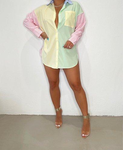 Women Fashion 2021 New Striped Print Patchwork Elegant Lapel Neck Office Lady Long Sleeve Blouse BLN-2511