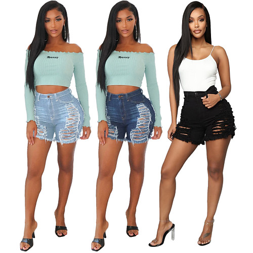 2021 Summer New Streetwear High Quality Women's High Waist Sexy Ripped Hole Denim Shorts HSF-2278