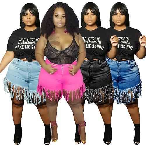 Plus Size Solid Color Autumn Fashion Women's Streetwear High Waist Tassel Jeans Denim Shorts HSF-2372