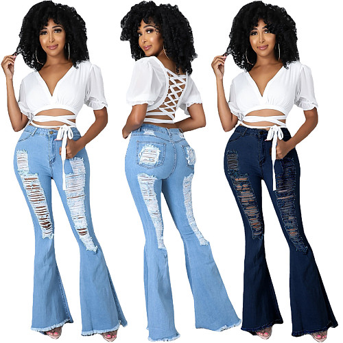 Fashion Women Autumn Street Trendy Casual High Waist Ripped Washed Make Old Vintage Flare Jeans LA-3286
