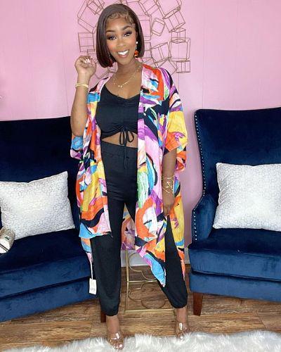 2021 Autumn Vintage Print Casual Irregular Loose Tunic Lady Long Sleeve Open Front Cardigan Coat LSD-81021