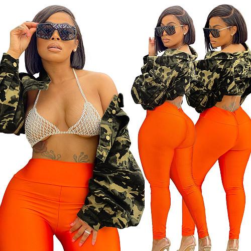 Camouflage Puff Sleeve Single Breasted Plus Size Jackets YIM-212