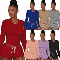 Long Sleeve T Shirt Sportswear Two Piece Short Set YS-8690