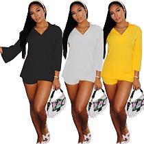 Solid Color Lapel Polo Long Sleeve T Shirt Shorts Set QINY-8025