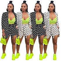 Polka Dot Print Blazer Shorts Office Lady 2 Pieces SHD-9165