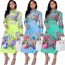 Print Lapel Collar Long Sleeve Shirt Long Pleated Dress WY-6848