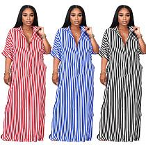 Half Sleeve Turn Down Collar Button Striped Shirt Dress HANI-041