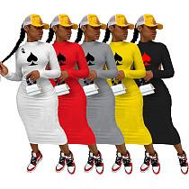 Poker Spades Q Backless Long Sleeve Bodycon Maxi Dress IV-8117