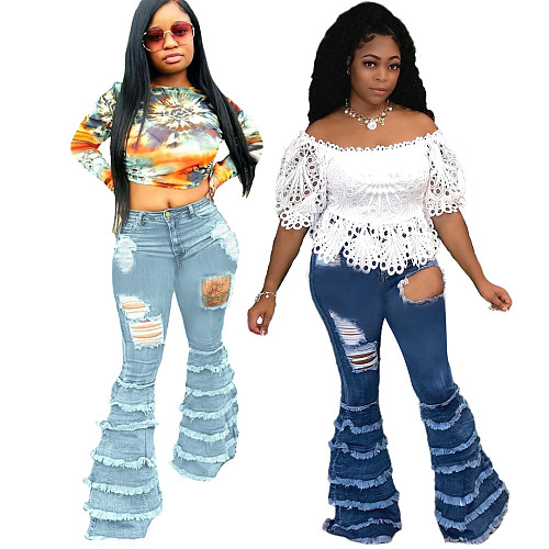 Plus Size Stretch Ripped Jeans Flared Pants HSF-2362