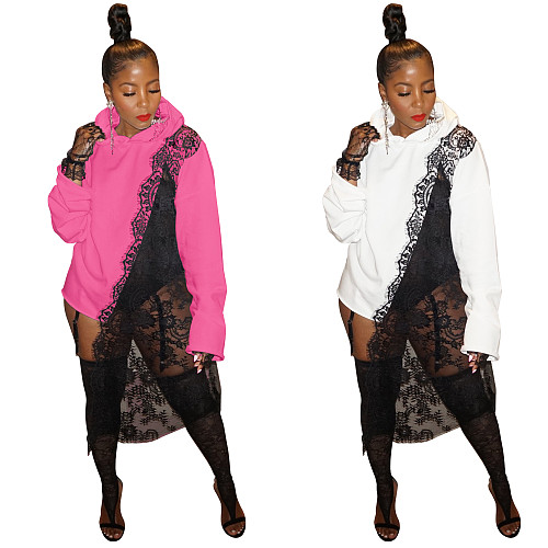 Long Sleeve Loose Pullover Lace Patchwork Hoodies ZS-0415
