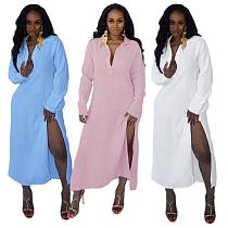 Long Sleeve Lapel Neck Solid Split Hem Shirt Dress HANI-052