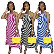Striped Print Adjustable Shoulder Strap Dress ZHUOM-9116