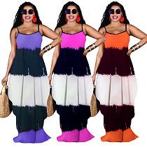 Tie Dye Spaghetti Straps Loose Pocket Maxi Dress ZHUOM-9113