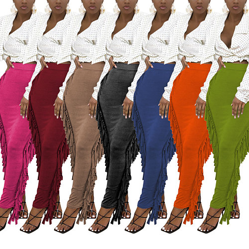 High Waist Stretchy Side Tassel Bodycon Straight Skirt MTY-6538