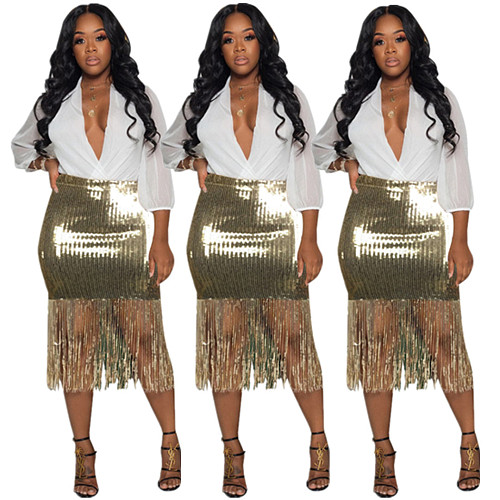 Sequin Tassel Patchwork Bag Hip Nightclub Skirt ZHUOM-9013