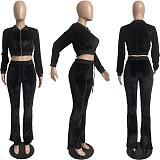 Velvet Zip Crop Top Slim Flared Pants Set FSL-171