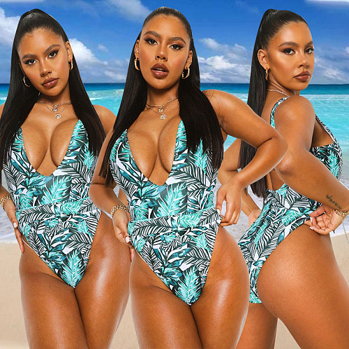 V-neck Leaf Print One Piece Swimsuit YBS-6803