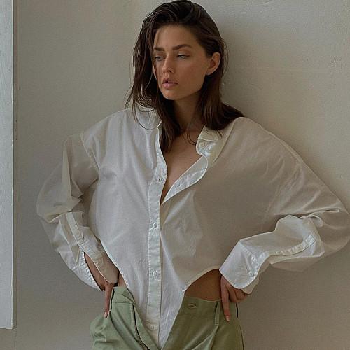 Long Sleeve Polo Collar Asymmetric Loose Shirt SUM-21205