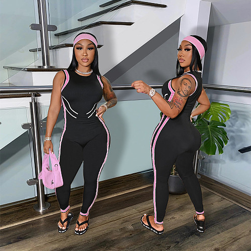 Side Stripe High Waist Bodycon Fitness Jumpsuits SHE-7282