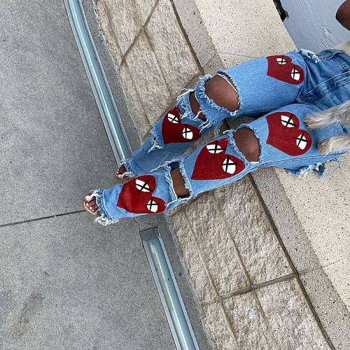 Hollow Hole Print High Waist Straight-leg Jeans SXE-02349