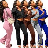 Velvet Zip Hooded Crop Top Pants Suit
