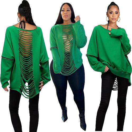 Solid Color Long Sleeve Back Cut Out Sweatshirt SIHA-6070