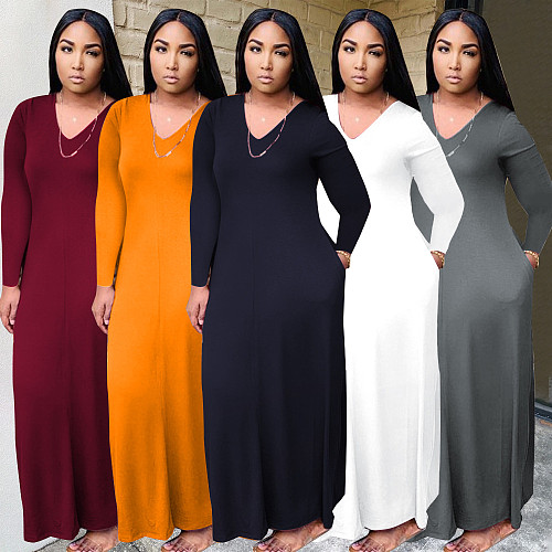 Solid V-Neck Long Sleeve With Pockets Maxi Dress QINGS-51041