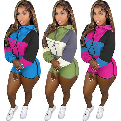 Color Block Hooded Sweatshirt Shorts Set OMM-5628