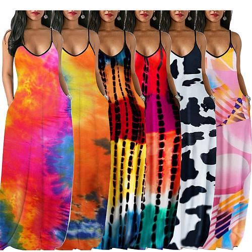 Plus Size Tie Dye Printed Sling Maxi Dress HGL-1691