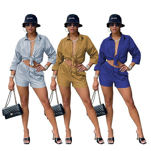 Solid Single-Breasted Button Blouse Shirts Shorts Set YM-9304
