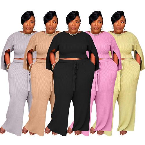 Knitted Solid Split Sleeve Crop Top Wide Leg Pants Set YS-8824