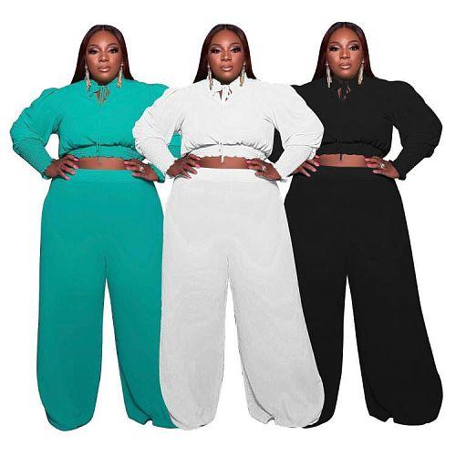 High Stretch Long Sleeve Crop Top Loose Pants Set MOF-6654