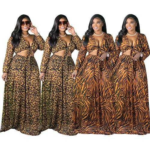 Leopard Printed Lace Up Crop Top Maxi Skirt Set ME-6072