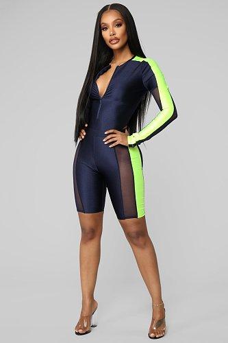 Mesh Patchwork Long Sleeve Bodysuit Biker Shorts Set LSL-6287
