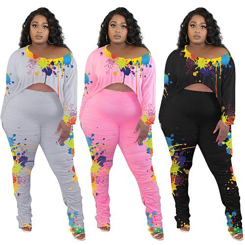 Splash Ink Drawstring T Shirt Stacked Pants Set OY-6309