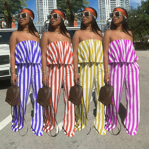 Ruffle Strapless Stretch Striped Wide Leg Jumpsuit YBS-6689