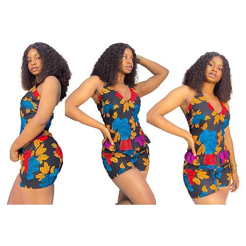 Floral Print Halter Neck Top Bodycon Shorts Set YBS-6671